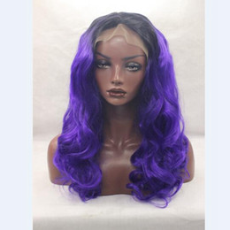 Wholesale Dark Purple Wigs - Synthetic Lace Front Wig Black Ombre 1b# T Dark Purple Hand Tied Glueless Heat Resistant Body Wave Lace Front Party Wig