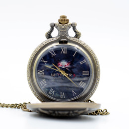 Wholesale Pocket Watch Games - The WITCHER Game Black Dial Cosplay Quartz Pocket Watch Analog Pendant Necklace Men Women Watches Chain Gift