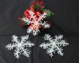 Wholesale Snowflake Decoration Wholesale - New White X-MAS Christmas Snowflake Christmas Decoration Ornaments Applique Snowflake Charms Holiday Party Home Festival Decoration