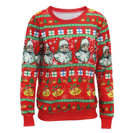 santa sweater Coupons - Wholesale-Santa Claus X-mas Tree Reindeer Patterned Sweater New Arriving Ugly Christmas Sweaters For Men Women Middle Long Pullovers A2