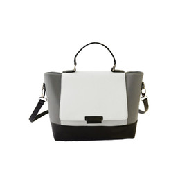 Wholesale Black Color Block Dress - Wholesale-Fashion Women OL Trapeze Handbag,Black White Patchwork PU Leather Color Block Magnetic Button Tote Crossbody Messenger Bag
