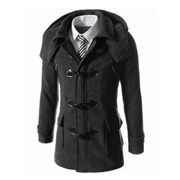 Wholesale Winter Trench Coat Big Men - Wholesale- Autumn Winter Fashion Men's Long Overcoat Men Woolen Coat Hooded Male Slim Zipper Trench Coat Big Button Jacket For Mans 266