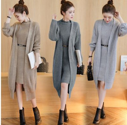 Wholesale Two Color Cardigan Sweater - New Style Fashion Korean Loose Hitz Female Knit Causal Long Cardigan Two-Piece Suit Skirt Noble Bottoming Sweater