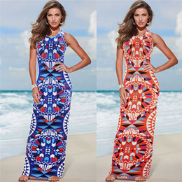 Wholesale Bohemian Clothing For Women Dresses - Maxi Dress Summer Bohemian Boho Dress 2017 New Fashion Sexy Sleeveless Print Bandage Tank Long Dresses For Women Clothing