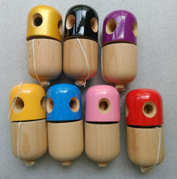 Wholesale Wooden Shapes For Painting - Professional 5 Hole Kendama Pill Shape Kendama Ball Wooden Ball Kid Japanese Game Jling Ball PU Paint Toy For Adult b941