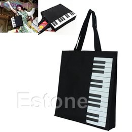Wholesale piano bags - Wholesale- New Hot Fashion Black Piano Keys Music Handbag Tote Bag Shopping Bag Handbag