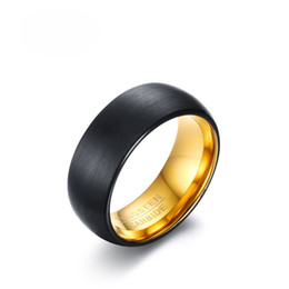 Wholesale Carbide Engraving - Wholesale Fashion Black Tungsten Rings for Men EURO-US Popular 8mm Wide Wedding Jewelry TUNGSTEN CARBIDE Engraved Mens Rings