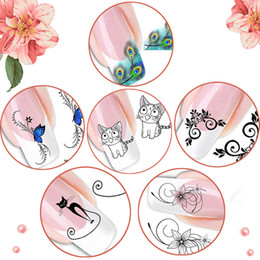 Wholesale Nail Art Cartoon Stickers - Nail Beauty Salon DIY Design Cartoon Cat Water Transfer Nail Art Sticker Nail For Decorate Easy Apply And Remove