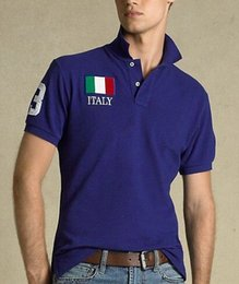 Wholesale Usa Sports Clothing - New American Style Cotton men Clothing USA Italy France Flag Print Male Polo t shirt Man T-shirts Casual Shirt mens tops Sports tees