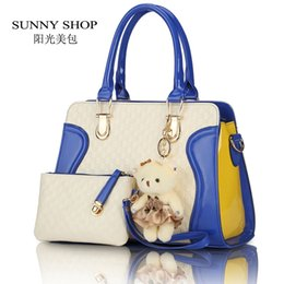 Wholesale Patent Shopping Bag - Wholesale-SUNNY SHOP European American fashion casual alligator Women Handbag patent leather PU shoulder bags with purse bear toy