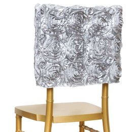 Wholesale Restaurant Furniture Chairs - New Spandex Design 3D Satin Rosette Lycra Chair Cover Hotel Restaurant Weddings Banquet Home Decoration Decor Christmas Chair Covers
