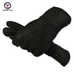 Wholesale Sheep Skin Leather Gloves - Wholesale- 2016 autumn and winter men fashion reverse sheep skin and fur one-piece warm and soft gloves Men black genuine leather mittens