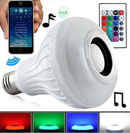 Wholesale Computer Lighting Controls - 12W E27 Smart LED Lamp Wireless RGB Bulb Bluetooth Lampada Speaker Lamparas RC Ampoule Bombillas Light Music Playing with remote controll