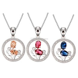 Wholesale Sweet Girl Face - Cute Sweet Girl Fashion Jewelry Crystal Rhinestone Round Necklace Pendant Present Syeer C00570 FASH