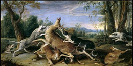 Wholesale Oil Painting Hunting - Framed Frans Snyders - Caza de venado Hunting deer The hounds in landscape,Pure Hand Painted Animal Art Oil Painting Canvas.Multi size A012