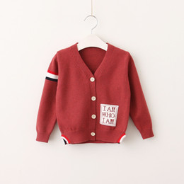 Wholesale V Neck Cardigan Sweater Boys - Boys Knit Striped Sweaters Kids Boys Embroidery Letter Cardigan 2017 Baby Boys Autumn Outwear kids clothes