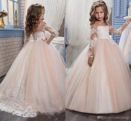 Wholesale White Strapless Dresses For Kids - Kids Flower Girls Dresses for Weddings 2017 Pentelei with Illusion Long Sleeves and Strapless Tulle Blush Floor Length Little Girls Gowns