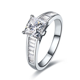 Wholesale Diamond Accent Rings - Antique Accents 2Ct Princess Cut Synthetic Diamond Wedding Female Ring Solid 925 Sterling Silver Ring Brilliant Forever Jewelry
