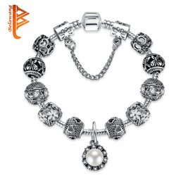 Wholesale semi precious stone chains - BELAWANG Mother's Day Fashion Silver Flower Charm Bracelets&Bangles for Women Imitation Pearl Beads Bracelets Semi-Precious Stone Jewelry