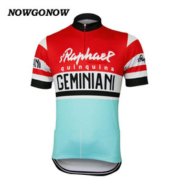 Wholesale Boys Road Bikes - Men summer 2017 cycling jersey Retro old style red&blue clothing team fans classic bike wear riding racing Quick Dry Mountain road NOWGONOW