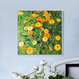 Wholesale Large Framed Mirrors Wholesale - Calendula Oil Painting Large Size Print Wall Art Walls Decor Nice Painting Wall Picture With Frame For Living Room