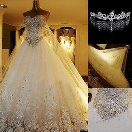 Wholesale Crown Bead Caps - Crystal Wedding Dresses Lace Cathedral Lace-up Back Bridal Gowns 2017 A-Line Sweetheart Appliques Beaded Garden Free Crown