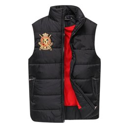 Wholesale Free Color Printing - Free send Men PoLo cotton wool collar hooded down vests sleeveless jackets plus size quilted vests Men PAUL vests outerwear,S-XXL