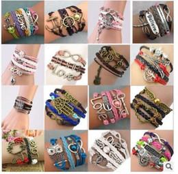 Wholesale Love Cross Anchor Infinity Bracelet - Mutilayer Braided Leather Handmade Bracelet Love Infinity Anchor ID Bracelets Love Peach Heart Cross Bird Charm Bracelets
