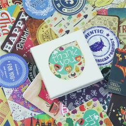 Wholesale Thank Boxes - Wholesale- 38 Pcs box Vintage Thank You Mini Sticker Set Decoration Decal Diy Album Scrapbooking Sealing Sticker Kawaii Gift