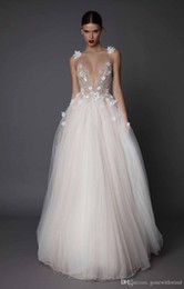 Wholesale Spagetti Strap Lace Wedding Dress - 3d floral appliques beaded wedding dresses 2017 muse berta bridal spagetti deep v neck embellished bodice tulle skirt open low back