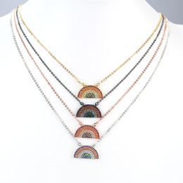 Wholesale Necklace Half Moon - Persian Style Half Golden Colorful Moon Shape Jewelry Set Pendant With Delicacy Chain For Gift JF