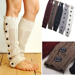 Wholesale Wholesale Hollow Knee Boots - Wholesale- Europe and the United States of wool leg warmers Hollow out warm knee set of buttons Knit boot cuffs socks