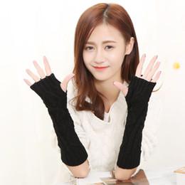 Wholesale Cheap Fingerless Gloves Women - Winter Warm Fashion Knitted Gloves 30cm Long Crochet Fingerless Glove Mittens Hand Wrist 7 Colors Cheap Wholesale Gloves