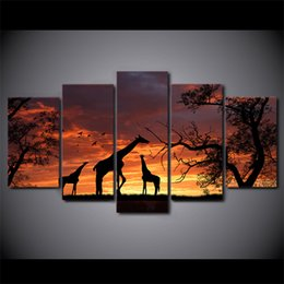 Wholesale Sunset Canvas Paintings - 5 Pcs Set Framed HD Printed giraffe sunset Painting Canvas Print room decor print poster picture canvas Free shipping ny-2861
