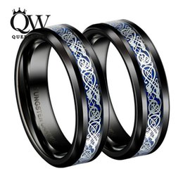Wholesale Irish Claddagh Rings - ring for Queenwish Dropshopping 8mm 6mm Irish Claddagh Celtic Dragon Tungsten Wedding Bands Eternity Wedding Rings For Couples Jewelry