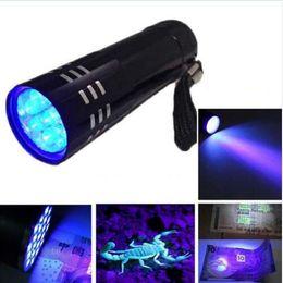 Portable 9 CREE LED Luce UV Torcia Escursionismo Torchlight Lega di alluminio Rilevazione di denaro Luce lampada UV a LED con scatola G0257 da