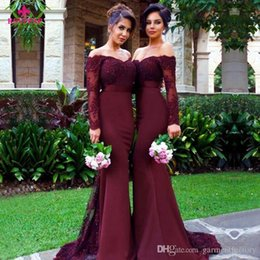 Wholesale Dresses Scalloped - 2017 Country Burgundy Bridesmaid Dresses Mermaid Scalloped Off Shoulder Neck Long Sleeves Beaded Lace and Chiffon Wedding Party Dresses