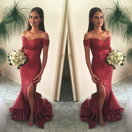 Wholesale Maid Wear Club Sexy - Elegant Wine Red Sparkly Sequined Mermaid Bridesmaid Dresses Off Shoulder Ruffle Train Front Split 2017 Formal Maid Of Honor Evening Gowns