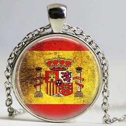 Wholesale Crystal Football Necklace - Spanish Flag Necklace Spain Flag Jewelry Spanish football jewelry