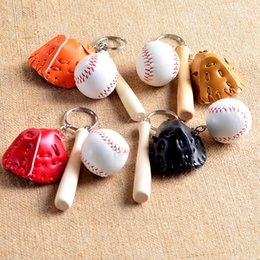 Wholesale Baseball Bat Holder - Mini Three-piece Baseball glove wooden bat keychain sports Car Key Chain Key Ring Gift For Man Women wholesale MOQ:50pcs