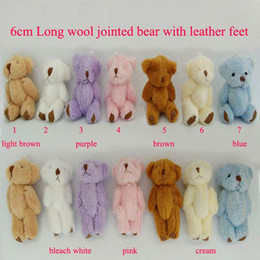 Wholesale Mini Bear Plush Toys - 6CM 7 color cute Mini Bear Plush toys Small joints bear with leather feet Baby doll cheap best gift toy dolls Boys children's gifts