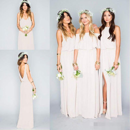 Wholesale Long Bridesmaid Dresses Slit - 2017 New Romantic Chiffon Long Bridesmaid Dresses Mumu Bohemian Beach Mixed Style Side Slit Bridesmaids Dress Custom Made