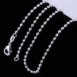 """Wholesale Emerald Crystal Glass Beads - 2MM Bead Chain Fashion Pearl Chain Silver Pendant 16 """"18"""" 20 """"22"""" 24 """"Pendant Suitable for heavy metal men and women"""