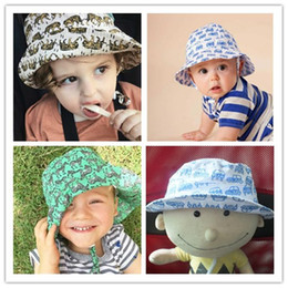 Wholesale Bucket Ears - INS Baby Tiger Printed Hats Kids Cartoon Topee Infant Colorful Summer Bucket Hat Cute Animal Sunhat