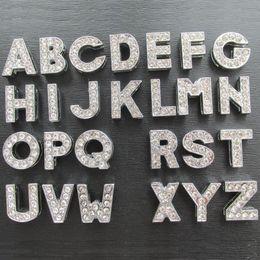 Wholesale Diy Full Rhinestone Letters - 260pcs lot Zinc Alloy full Rhinestone Slide letters A-Z pet products DIY slider letters charms wholesale