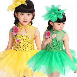 Wholesale Dance Costume Child Hip Hop - 5 colors Girls Sequined Modern dance dress Kids Party dancewear costumes Outfits Children Ballroom Jazz Hip Hop dancing Dress