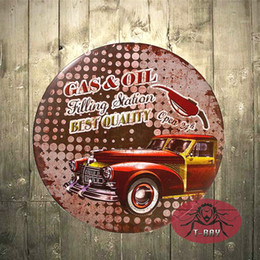 Wholesale Wholesale Man Cave - T-Ray GAS&OIL Mobilgas Mobil Round Tin Sign Man Cave Garage Bar Kitchen art posters A-11 170314#