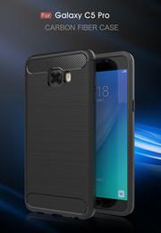 Wholesale Carbon Fibre Brush - For Samsung Galaxy C5 Pro Case Luxury Carbon Fibre Cover Brushed TPU Cover Cases For Samsung C5 Pro Shell