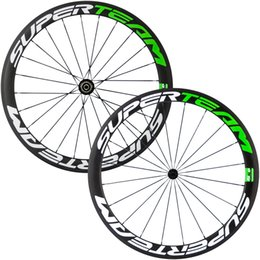 Wholesale Green Clincher Wheels - Superteam 50mm Full Carbon Wheelset Clincher Tubular Green Color Wheel 700C Road Bicycle wheel Road Bikes Free Shipping