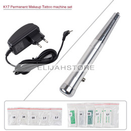 Wholesale Permanent Tatto - Wholesale-CHUSE Permanent Makeup Eyebrow Machine Set Makeup Tatto Kits Silver K17, Aluminum Alloy Tattoo Machine tattooing